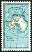 Poštovní známka Norsko 1956 mapa jižní pól s královny Maud — Stock fotografie