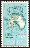 Postage stamp Norway 1956 Map of South Pole with Queen Maud Land — Stock Photo