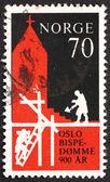Znaczek norwegia 1971 budowa pierwszego kościoła — Zdjęcie stockowe