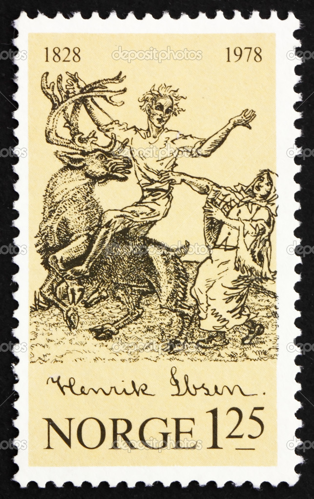 Peer Gynt riding a reindeer, Norwegian stamp