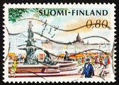 邮资邮票芬兰 1976年市场地方和美人鱼喷泉,他 — 图库照片