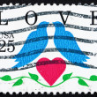 Postage stamp USA 1990 Love, Two Birds and Heart — Stock Photo