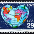 Postage stamp USA 1991 Earth in Form of the Heart, Love — Stock Photo