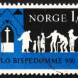 Postage stamp Norway 1971 Worshippers Coming to Church - Stock Photo
