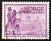 Francobollo Norvegia 1947 prima norvegese locomotiva — Foto Stock