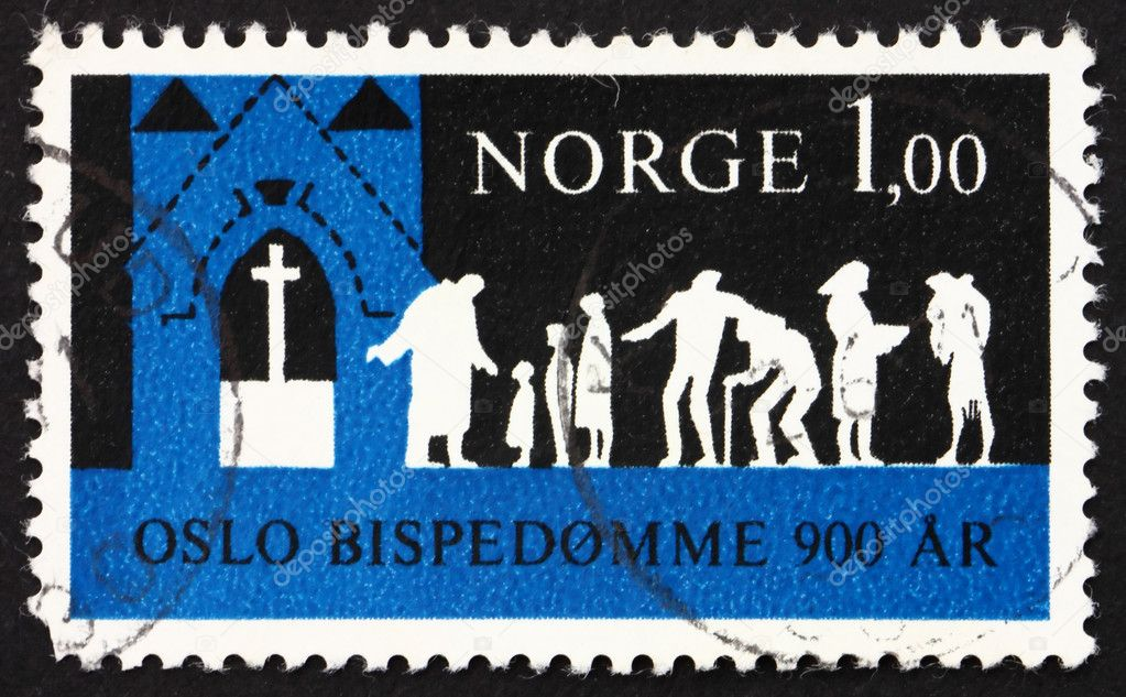 NORWAY - CIRCA 1971: a stamp printed in the Norway shows Worshippers Coming to Church, 900th anniversary of the Bishopric of Oslo, circa 1971 — Stock Photo #8948989