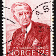 Stock Photo: Postage stamp Norway 1979 JohFalkberget, novelist