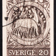 Postage stamp Sweden 1970 St. Stephen as a Boy Tending Horses — Stock Photo