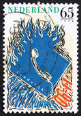 Postage stamp Netherlands 1990 National Emergency Phone Number — ストック写真