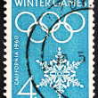Postage stamp USA 1960 Olympic Rings and Snowflake - Stockfoto