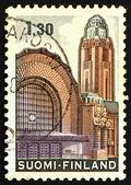 Dworca kolejowego helsinki finlandia 1971 znaczek — Zdjęcie stockowe