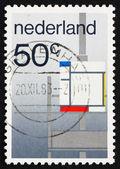 Composição de holanda 1983 selo postal pelo p. mondrian — Fotografia Stock