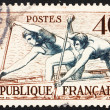 Postage stamp France 1953 Canoe Racing — Stock Photo #9145449