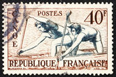 Postage stamp France 1953 Canoe Racing — Stock Photo