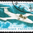 图库照片: Postage stamp France 1960 Jet Plane, MS760, Paris