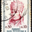 Postage stamp France 1964 Pope Sylvester II, Gerbert - Stock Photo