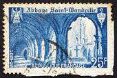 Postage stamp France 1949 Cloister of St. Wandrille Abbey — Stock Photo