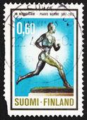邮票 1973年芬兰帕沃 · 努尔米、 转轮 — 图库照片