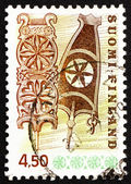 Postage stamp Finland 1976 Carved Wooden Distaffs — Stock Photo