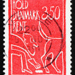 Postage stamp Denmark 1991 Cleaning up after Dog - Stock Photo