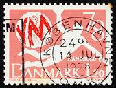 Postage stamp Denmark 1978 Handball player — Stock Photo