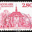Stock Photo: Postage stamp Denmark 1985 Germand French Reform Church