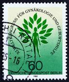 Postage stamp Germany 1985 Emblem of the International Federatio — Stock Photo