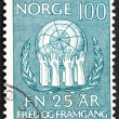 Postage stamp Norway 1970 Olive Wreath and Hands Upholding Globe - Stock fotografie