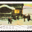 Postage stamp Norway 1983 The Guests are Arriving, by Gustav Wen - Stock Photo