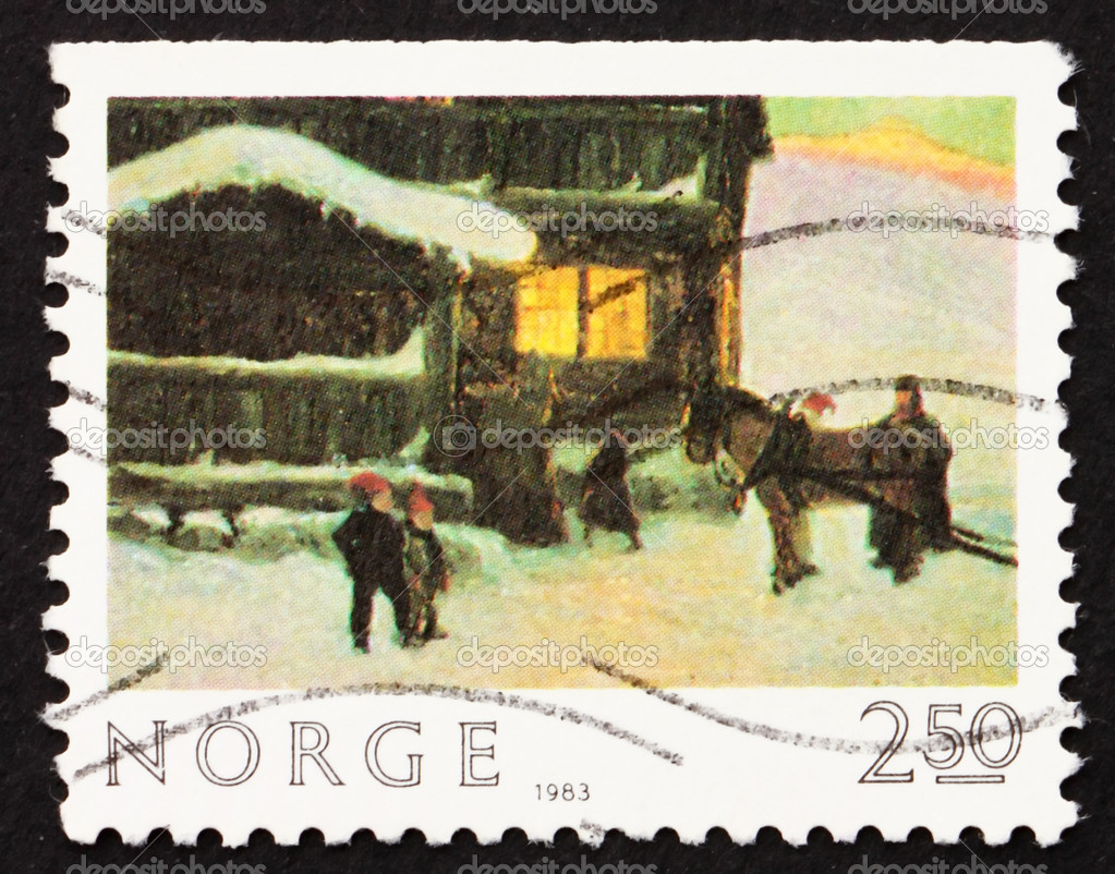 NORWAY - CIRCA 1983: a stamp printed in the Norway shows The Guests are Arriving, painting by Gustav Wenzel, circa 1983 — Stock Photo #9401489