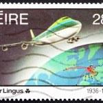 Postage stamp Ireland 1986 Jet plane and Earth — Stock Photo
