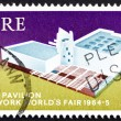 图库照片: Postage stamp Ireland 1964 Irish Pavilion, New York World's Fa