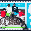 Postage stamp GB 1966 Soccer Players and Crowd - Stock Photo