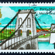 Foto de Stock  : Postage stamp GB 1968 Menai Bridge, North Wales