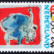 Postage stamp Netherlands 1987 Stag Beetle, Painting by Corneill — Stock Photo #9466743