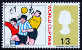 Postage stamp GB 1966 Goalkeeper and Two Soccer Players — Stock Photo