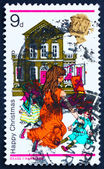 Postage stamp GB 1968 Girl Playing with Dolls and Dollhouse — Stock Photo