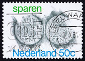 Postage stamp Netherlands 1975 Rubbings of 25c Coins — Stock Photo