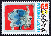 Postage stamp Netherlands 1987 Stag Beetle, Painting by Corneill — Stock Photo