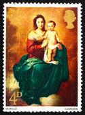 Postagem carimbo gb 1968 madona e a criança, por murillo — Fotografia Stock