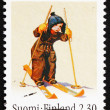 Postage stamp Finland 1993 Boy on Skis, Martta Wendelin — Stock Photo