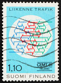 Postage stamp Finland 1981 Traffic Conference Emblem — Stock Photo