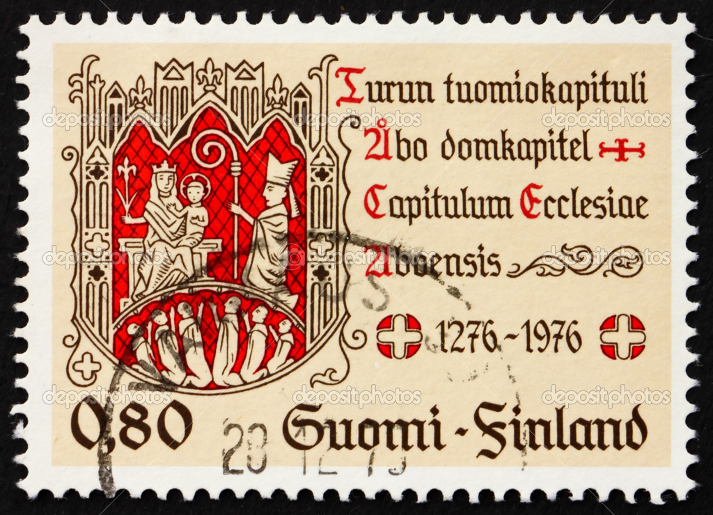 FINLAND - CIRCA 1976: a stamp printed in the Finland shows Turku Chapter Seal, Virgin and Child, 700th Anniversary of Cathedral Chapter of Turku, circa 1976 — Stock Photo #9648690