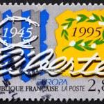 pocztowych znaczków Francji 1995 drutem kolczastym i wawrzyn wieniec — Zdjęcie stockowe