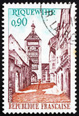 Postage stamp France 1971 Tower and Street, Riquewihr, France — Stock Photo