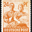 Postage stamp Germany 1947 Reaping Wheat — Stock Photo