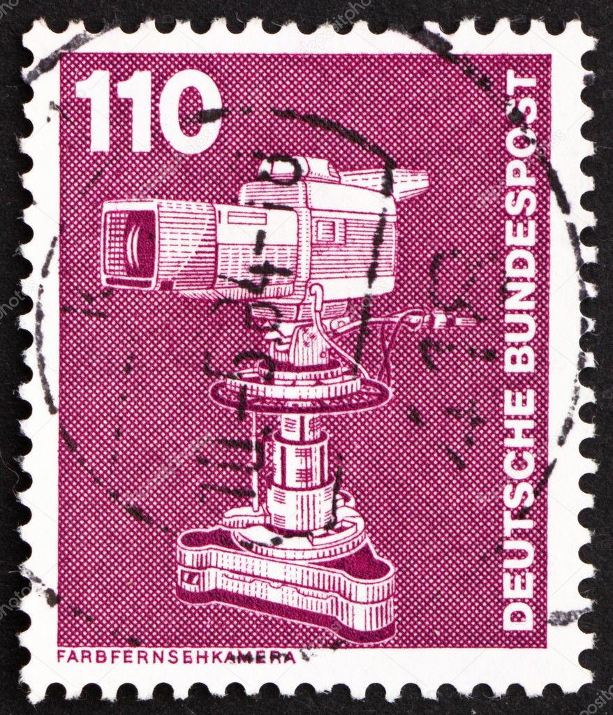 GERMANY - CIRCA 1982: a stamp printed in the Germany shows Color TV Camera, circa 1982 — Stock Photo #9713295