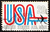 Postage stamp USA 1968 USA and Jet — Stock Photo