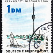 Postage stamp Germany 1966 Schaeferberg Radio Tower, Wannsee, Be - Stock Photo