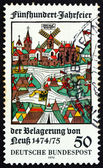 Postage stamp Germany 1975 View of Neuss, Woodcut — Stock Photo